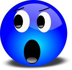 Blue smiley emoticon face shocked