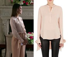 """1x06 Cristal Flores (Nathalie Kelley) wears this silk button front bow sleeve blouse in this episode of Dynasty, """"I Exist Only For Me"""". It is the Rag & Bone Dylan Silk Top. Buy it HERE for 7.00 Worn with: Alice + Olivia Pants, Alice + Olivia Blazer, Cuero & Mor Bag Previously worn: Kevin Can Wait (Vanessa)"""