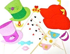 Photo Booth Props Inpired by Alice in wonderland Material Glitter Foamy