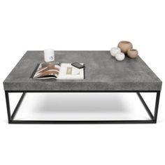 A faux concrete finish slab top puts the Petra Rectangular Coffee Table by Tema in tune with today's industrial chic decorating trend. Despite its substantial look and durability, the interior honeycomb construction makes it surprisingly lightweight. Concrete Coffee Table, Coffee Table Rectangle, Coffe Table, Coffee Table Design, Steel Coffee Table, Design Table, Concrete Furniture, Cool Furniture, Living Room Furniture