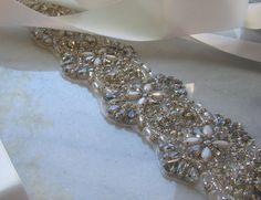 Crystal Rhinestone & Milk Glass Beaded Bridal by TheRedMagnolia Wedding Belts, Wedding Sash, Bridal Sash, Cream Wedding, Milk Glass, Clear Crystal, Crystal Rhinestone, Glass Beads, Sparkle
