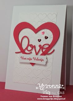 Yvonne is Stampin' & Scrapping: Stampin´ Up! Valentine card with happy hearts embossing