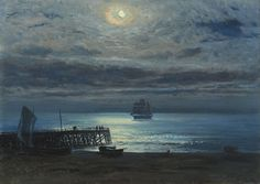 Henry Moore, R.A., R.W.S. (York 1831-1895 Margate) | Ship on a moonlit sea - Yarmouth Jetty | 19th Century, Paintings