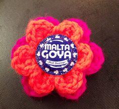 Malta Goya malt beverage handmade crocheted flower hair clip barrette hand flattened bottle cap crochet flower brooch alligator clip pin on Etsy, $6.99