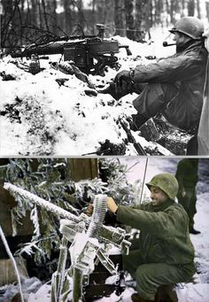 GI takes a smoke break somewhere in the Ardennes. GI checks Machine Gun, Ardennes-Alsace Campaign, Battle of the Bulge, Ardennes, Alsace, North Africa, Belgium, Battle, Campaign, Guns, Smoke, Adventure