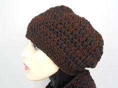 Hat - Brown / Black Beanie Black Beanie, Winter Hats, Crochet Hats, Brown, Fashion, Knitting Hats, Moda, Fashion Styles, Brown Colors