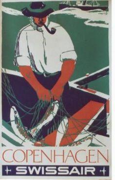 vintage poster COPENHAGEN FISHERMAN SWISSAIR Airline Travel, Travel Brochure, Swiss Air, Pub, Copenhagen Denmark, Vintage Travel Posters, Maps, Print Design, Advertising