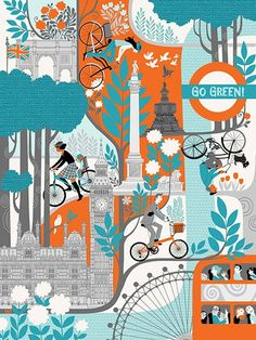 Go Green, pro-biking London poster design by Galia Bernstein.