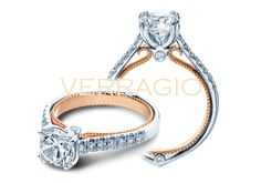 Verragio #210-10139 - ENGAGEMENT RING FROM THE COUTURE COLLECTION, FEATURING A ROSE GOLD PROFILE AND 0.30CT. OF ROUND BRILLIANT DIAMONDS TO ENHANCE A ROUND DIAMOND CENTER AND AVAILABLE IN GOLD AND PLATINUM. FOR MORE INFORMATION AND/OR AVAILABILITY, PLEASE CONTACT STADLER'S JEWELRY