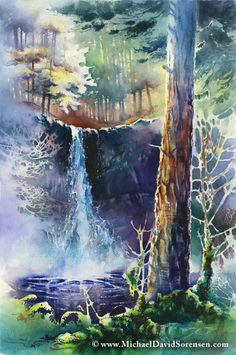 ✿ Silver Falls - original watercolor painting by Michael David Sorensen ✿