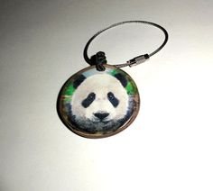 by NayasArt Key Chain Rings, Key Chains, Wooden Keychain, Wooden Slices, Wood Tree, Handmade Wooden, Natural Wood, Pocket Watch, Panda