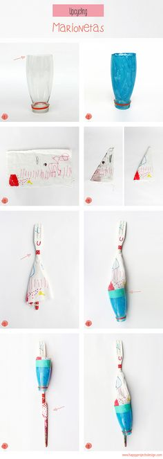 #Upcycling para peques: #Marionetas con botellas de plástico y cucharas de madera #DIY #Reciclado