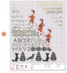 alpine climbing historical figurines scaling the alphabet in this charming free cross stitch sampler