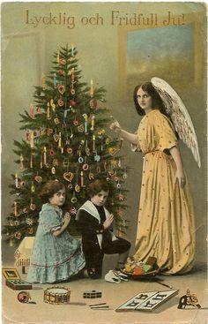 """Antique Christmas Card  """"Lycklig och Fridfull Jul"""""""