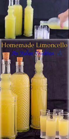 After a lavish Italian meal a freezing cold Italian homemade Limoncello. citrusy sweet and strong. You will digest in no time. Put it in a fancy bottle and make the perfect edible gift for father and/or mother day. Italian Limoncello Recipe, Homemade Limoncello, Limoncello Cocktails, Making Limoncello, Homemade Alcohol, Homemade Liquor, Homemade Liqueur Recipes, Homemade Food Gifts, Italian Drinks