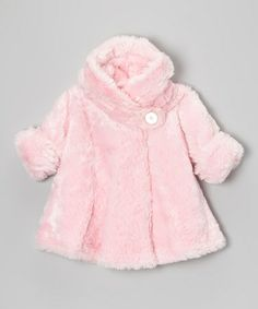 Take a look at this Pink Faux Fur Hooded Swing Coat - Infant, Toddler & Girls by Corky & Company on #zulily today! $63.99