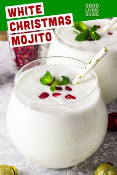 White Christmas Mojito White Christmas Mojito,RECIPES: Christmas This is a drink that looks as gorgeous as it tastes. It comes out pure white, and the pomegranate arils look like holly berries against snow. Cocktail Drinks, Fun Drinks, Yummy Drinks, Cocktail Recipes, Beverages, Vodka Drinks, Party Drinks, Mixed Drinks, Malibu Rum Drinks