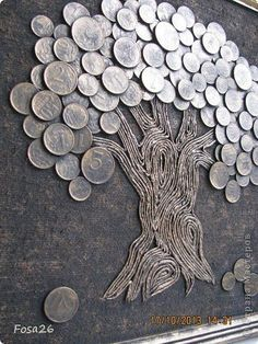 Coin Crafts, DIY World Coins Foreign Coins, Coin Art - money and coins Diy Crafts Hacks, Diy Home Crafts, Diy Arts And Crafts, Creative Crafts, Coin Crafts, Metal Art Projects, Diy Projects, Coin Art, Deco Originale
