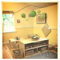Easily doable in the toddler room. Brown mat would look much better as their shaggy green rug though. Lanterns are cheap and sticks are free! Classroom Layout, Classroom Design, Classroom Organization, Classroom Decor, Play Spaces, Learning Spaces, Learning Environments, Play Rooms, Toddler Classroom