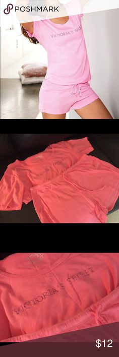Victoria's Secret Pj set Lightly used , too big on me . Size medium , color is like a pink coral , the picture is for reference of what it looks like on the body and the style . Victoria's Secret Intimates & Sleepwear Pajamas