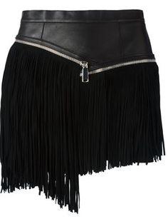 asymmetric fringed skirt