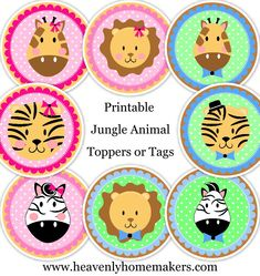 Zoo Animal Muffin and Cupcake Toppers