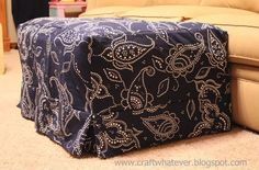 craft whatever: Ottoman Slipcover with Box Pleat Skirt {sewing technique}