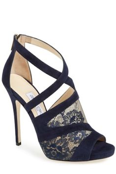 gorgeous lace and suede Jimmy Choo sandals http://rstyle.me/n/sp67mr9te