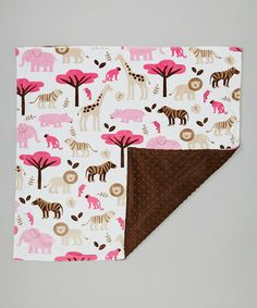 Another great find on #zulily! Brown Jungle Tales Minky Blanket by Lolly Gags #zulilyfinds