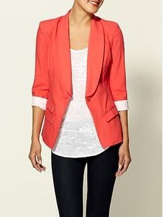 coral coral coral, i really can not say this enough, a great blazer is the best buy, dress it up dress it down. It will compliment your wardrobe for years to come!
