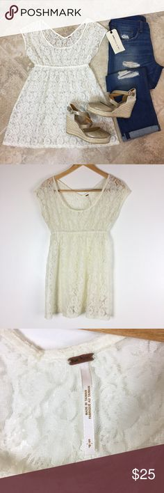 """FREE PEOPLE Lace Baby Doll Top Fun boho top! In great condition! No marks or snags. Measures 20"""" across the bust, but is tightened from elastic waist. Waist is 12"""" across, but stretches to 20"""". 29"""" long. Non-smoking pet free home.                                    🔹suggested user🔹fast shipper🔹                                    🔸bundle to save 20%🔸choose from 300+ items🔸 Free People Tops"""