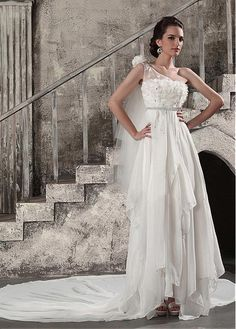 AMAZING CHIFFON SATIN TULLE A-LINE ASYMMETRICAL ONE SHOULDER NECKLINE EMPIRE WAIST WEDDING DRESS HANDMADE FLOWERS