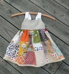 Sewing For Kids Clothes - It's a size months. But I believe back to school is for everyone. I made my own patchwork skirt layout instead of using the pattern's, however. Baby Patchwork Quilt, Patchwork Dress, Patchwork Patterns, Quilt Pattern, Little Dresses, Little Girl Dresses, Dress Girl, Girls Dresses, Sewing For Kids
