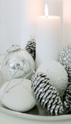 white + silver christmas decoration