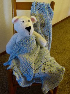 Crochet Lavendar blue & Yellow  Baby Afghan by NyssaPlace on Etsy
