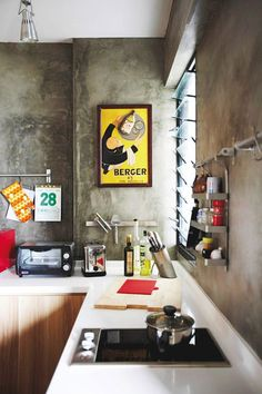 cement screed for kitchen walls to create an industrial chic feel... I'm thinking this for the bathrooms at the6th ave