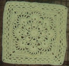 "Spring Fling   Finished size: 12 inches square   MATERIALS  Approx. 4 ounces worsted weight yarn (yellow used for example), US size ""I"" hook..."