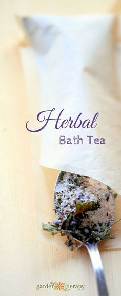 Use a mixture of dried flowers, herbs, salts, milk powder, essential oils, and a paper tea filter to make tub teas.
