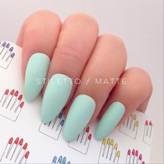 Mint Green Stiletto Hand Painted Nail Tips Press On Stick On Fake... ($14) ❤ liked on Polyvore featuring beauty products, nail care, nail treatments, nails, makeup and nail polish