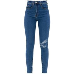 Dark Wash Distressed Knee High Waisted Skinny Jean ($39) ❤ liked on Polyvore featuring jeans, bottoms, pants, skinny fit denim jeans, high rise jeans, highwaist jeans, dark rinse jeans and skinny jeans