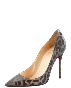 WANT!!!!   Decollette Leopard-Print Beaded Pump by Christian Louboutin at Bergdorf Goodman.