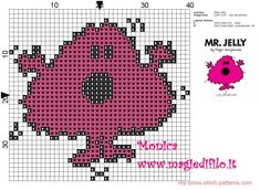 Mr. Jelly (Mr. Men) cross stitch pattern - free cross stitch patterns Cross Stitch Quotes, Cross Stitch Pictures, Cross Stitch Cards, Cross Stitching, Cross Stitch Embroidery, Cross Stitch Designs, Cross Stitch Patterns, Mr Men Little Miss, Stitch Character