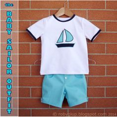 The Baby Sailor Outfit: shirt (with applique) and shorts for little boys - RobyGiup handmade #sewing