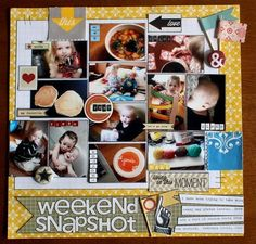 wallet sized photo grouping to fit more photos on a page. I like the black borders around the photos and elements.