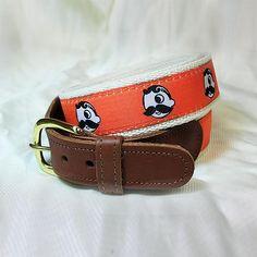 "Natty Boh Leather Tab Belt.  32"" Color: orange or purple"