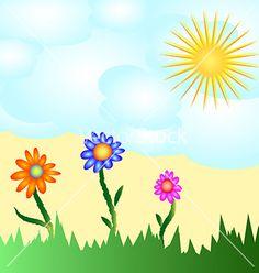 Solar flower card vector