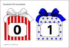 Numbers 0-50 on presents (SB6468) - SparkleBox