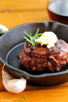 Better-Than-Grilled Filet with Rosemary Red Wine Jus & Bleu Cheese Butter via StrictlyDelicious