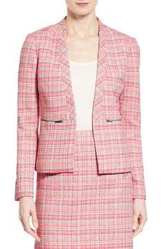 Halogen® Zip Pocket Tweed Open Front Jacket (Regular & Petite)