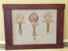 "Arts and Crafts Framed Embroidered Linen in Dard Hunter Frame 25.5"" X 19.5"""
